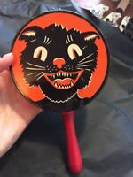 Halloween Vintage Black cat rattle Noisemaker Kirchhof