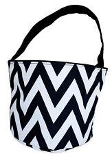 Chevron Caddy Basket Organizer Cloth Cosmetic Makeup Bucket Fabric Holder Blue
