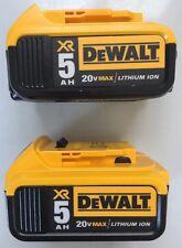 2 NEW DeWALT DCB205 20V 20 Volt Max XR 5.0 Ah Lithium-Ion Battery Packs