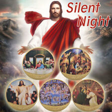 WR 5PCS Gold Silent Night Coin Set Jesus Christ Christian Christmas Gifts