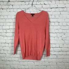 J. Crew V-neck Sweater Pullover 100% Merino Wool Coral Long Sleeve Size M