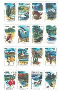 1990 CHILE WILDLIFE BIRDS  ANIMALS 4X 4 STAMP STRIPS MNH