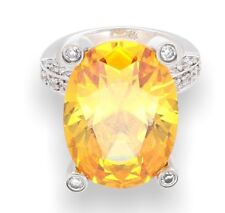 Sterling Silver Citrine Solitaire & Simulated Diamond Accents Ring (Size H 1/2)