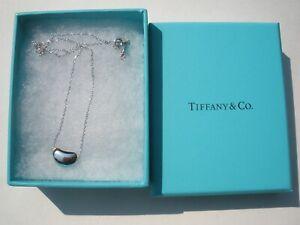 """TIFFANY & CO Elsa Peretti Bean Necklace Sterling Silver 17"""" chain"""