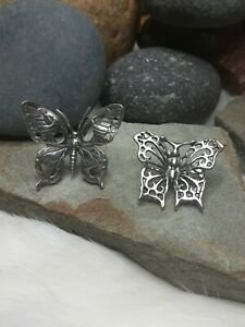 Vintage 2pc Set 9g LIFE SIZE BUTTERFLY TRINKET MINIATURES 800 STERLING SILVER