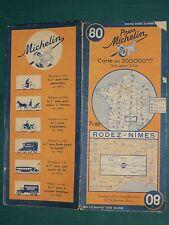 Carte MICHELIN n° 80 Rodez-Nîmes non datée (1944 d'après le chiffre 4 sous 80)