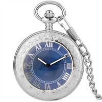 Womens Mens Automatic Mechanical Pocket Watch Vintage Silver Blue Dial Watches