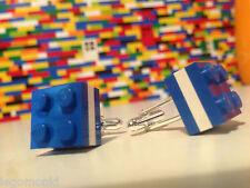 Pair Handmade MonkiStuff Cufflinks, Blue & White made using LEGO® Bricks