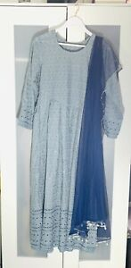 Pakistani Asian Style Party Frock Wear Wedding Dress Outfit with Dupatta 3 pcs
