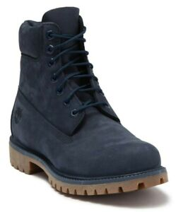 "Timberland Men's 6"" Inch Premium Waterproof Boots Blue Nubuck Leather Size 8.5"