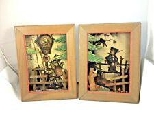 Set Of 2 Vintage Emil Fink Verlag Original Hummel Print Wooden 3D Box Anri Italy