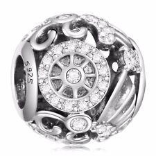 925 Silver Charms Zirconia Bead Fit Sterling Bracelets Necklace Women's Jewelry
