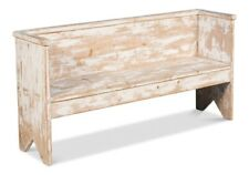 "61"" W Natalino Bench Hand Crafted Reclaimed Old Pine Distressed White Paint"