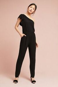 ANTHROPOLOGIE Ruffled One Shoulder Jumpsuit Black by Greylin XL / 16 NEW $158USD