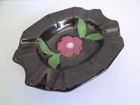Vintage Japan Ceramic Small Black Ashtray Floral Design   ---  NICE ONE