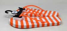 Qupid Womens Thong Slide Flip Flop Sandals Orange White Stripe Size 6 M US