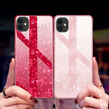 For iPhone 11 Pro Max XS 8 7 Plus Luxury marble Shockproof Tempered Glass case