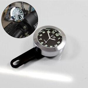 Motorcycle Handlebar Mount Clock Waterproof  Luminous included Battery Silver