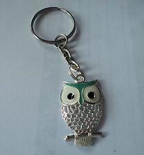 POPULAR OWL SILVERTONE AND GREEN ENAMEL KEY RING,FREE POST IN OZ