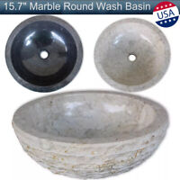 "15.7"" Marble Round Wash Basin Bathroom Sink Vessel Modern Washroom Bowl Hotel US"