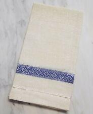 "Tessitura Pardi Guest Towel 18""x24"" Blue/Ivory Italian 100% Linen"