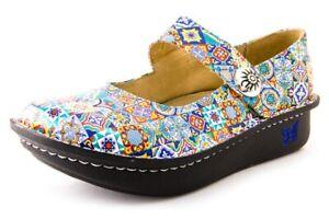 Alegria Paloma Aztec Tile Colorful Leather Mary Jane Comfort Shoes Sz.40/ 9.5-10