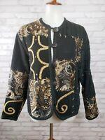 Sandy Starkman cardigan jacket artsy patchwork size M black knit floral tapestry