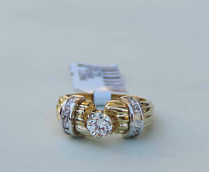 Ladies Diamond Solitaire 1/2 CTW Ring w/ 16 Princess Diamonds - 14k Yellow Gold