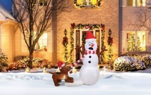 Holiday Time 5ft Tall Snowman and Playful Dog Yard Inflatable
