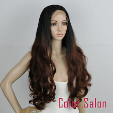 Hand-Tied Middle Parting Synthetic Lace Front Wigs Heat Safe Ombre 8201#1BT33