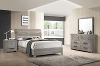 NEW Rustic Gray Brown 4PC Queen King Bedroom Set Modern Furniture Bed/D/M/N