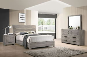 NEW Rustic Gray Brown 4PC Queen King Bedroom Set Modern Furniture Bed/D/M/N