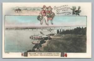 Columbia River Bridge KENNEWICk & PASO Antique CHRISTMAS Hand Colored PC 1910s