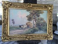 "ANTIQUE FRAMED OIL PAINTING V GIANNACCIM OXEN SIGNED GREAT FRAME 52"" CAMPAGNA"