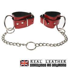 Red Plain Manette Grande Anello con borchie vera pelle fatto a mano in Inghilterra