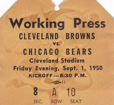1950 Browns v Bears Press Ticket Cleveland Champs 1st Year in NFL 9/1/50 24625
