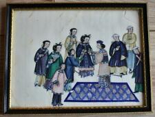 CHINESE ANTIQUE 19thC  RICE PAPER PITH PAINTING - PALACE SCENE