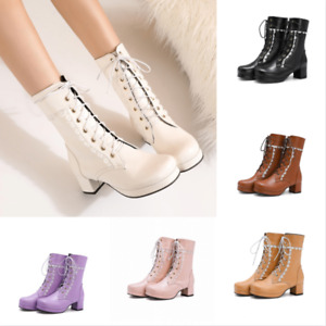 Fashion Girl Women's Round Toe Lolita Block Chunky Heel Lace Up Ankle Boot 47 48