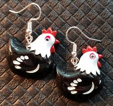 HEN CHICKEN CHOOK EARRINGS AUSTRALORP PLYMOUTH SILKIE POULTRY ROOSTER EGG FARM