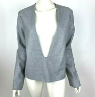 COS Solid Gray Wool Top Deep V-Neck Long Sleeve Pullover Shirt Women 40 Small XS