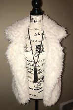 Aeropostale Furry Faux Fur Waistcoat Sleeveless Outwear Vest Ivory Sz L NWT