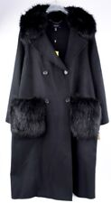 KAREN MILLEN Wool Blend Long Shell Coat, Detachable Faux Fur, Black, size UK 18