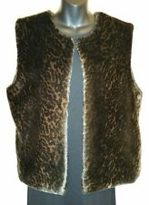 British Khaki Faux Fur Black Brown Animal Print Vest waistcoat Gilet Sz L #2189