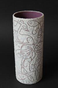 TOP! RUSCHA FILIGRAN Vase west german pottery Adele BOLZ relief vintage wgp