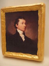 James Monroe American President Rare Gold Art Icon on Genuine Pine Wood Plaque