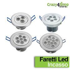 FARO FARETTO A LED 3W 5W 7W 12W DA INCASSO A MOLLA CON ALETTE LUCE CALDA FREDDA