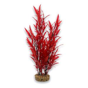 Aquarium Ornament Red Plastic Plant on Stone Large 38cm
