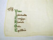 AMAZING Vintage ~ZODIAC SCARF ~ VIRGO ~ Astrology~Yellow Silk~Rolled Edge~French