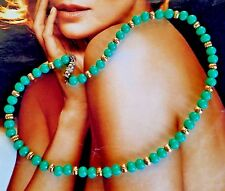 France LES BERNARD Paris Green Peking Cabochon Bead Gold Accent Choker NECKLACE