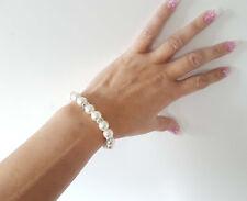 Gorgeous Glass faux pearl & diamante elasticated bracelet - Adults & kids option